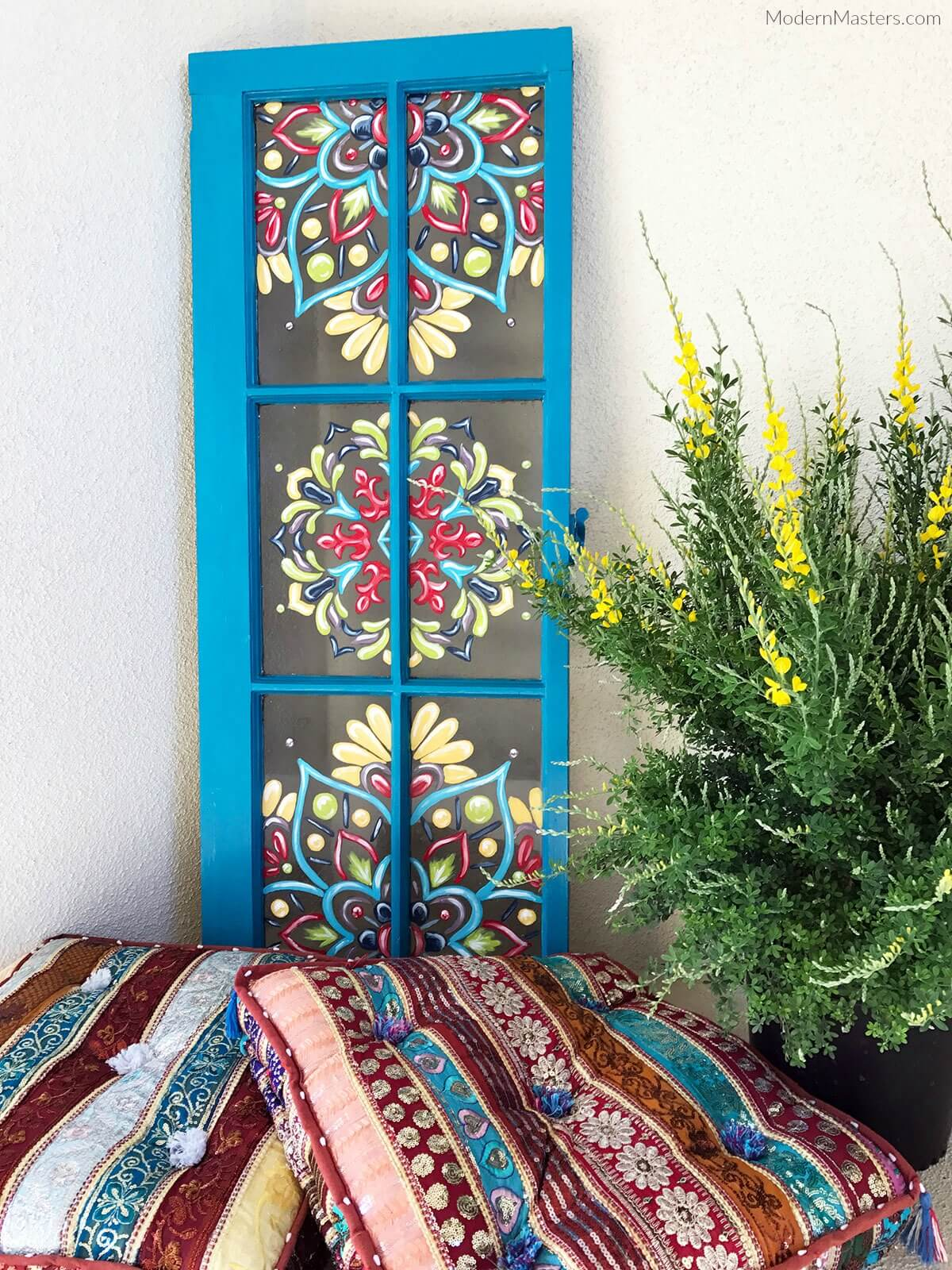 Tole Painting on Bright Blue Window Frame | DIY Painted Garden Decoration Ideas