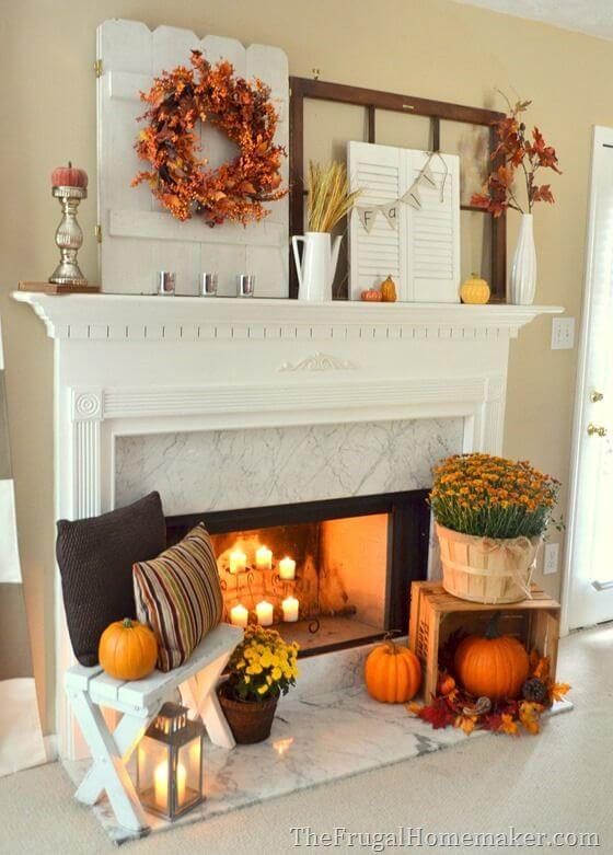 Ideas Spill from the Mantel on to the Heart | Fall Mantel Decorating Ideas For Halloween