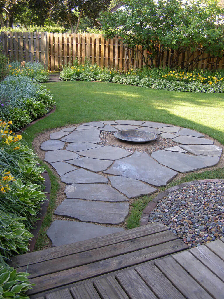 Simplistic Stone Path with a Firepit Center   Awesome Firepit Area Ideas For Your Outdoor Activities