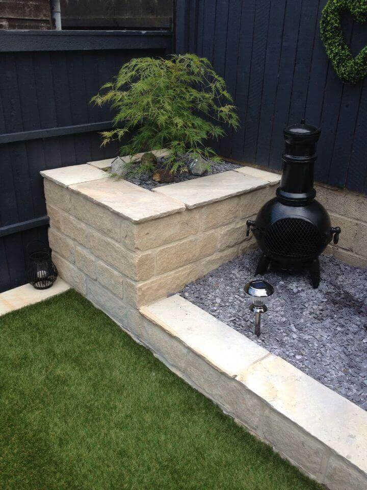Flower Bed with Built-In Stone Planter