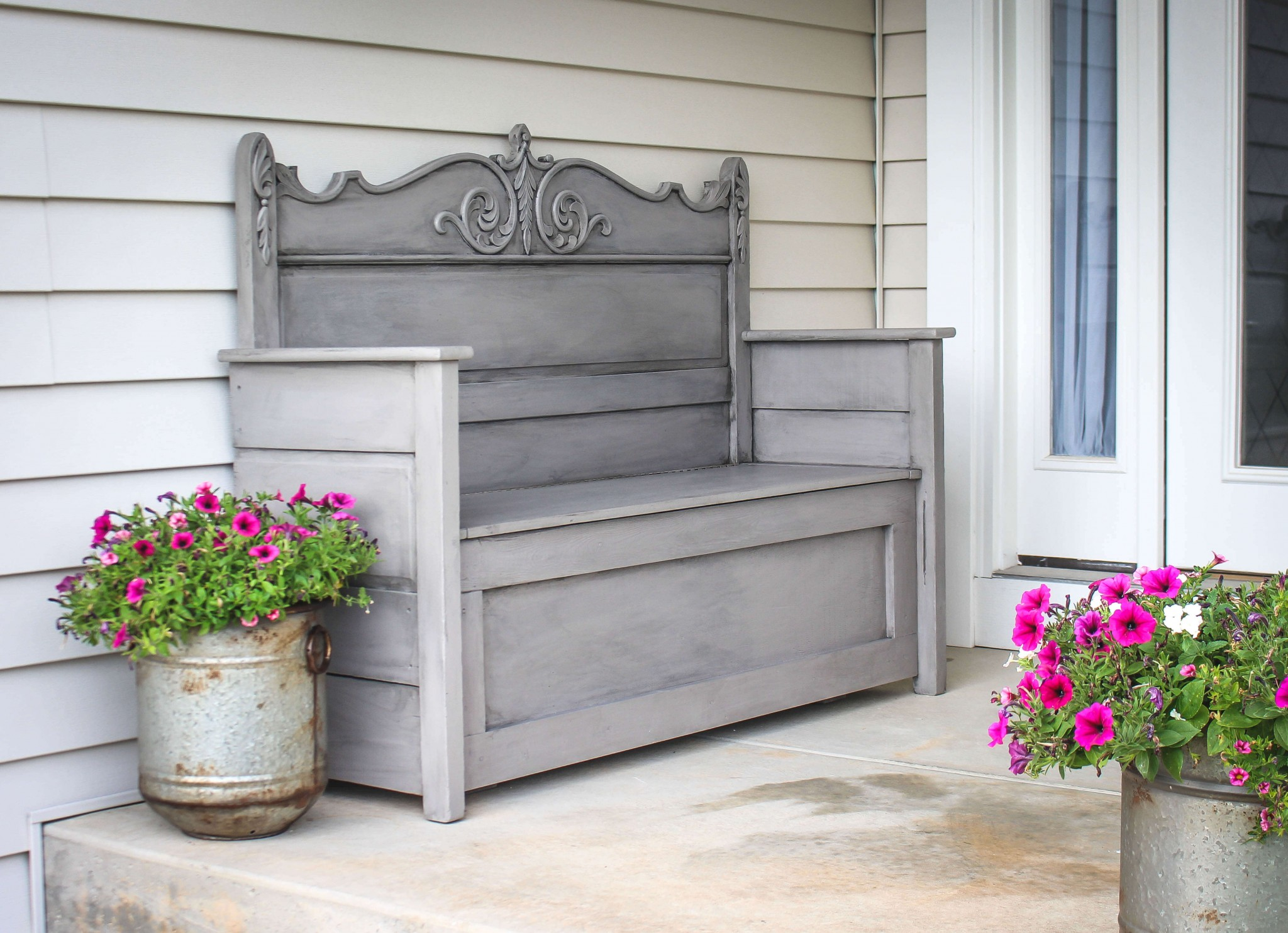 Outdoor DIY Bench Ideas: Antique Up-Cycled Head-Board Bench