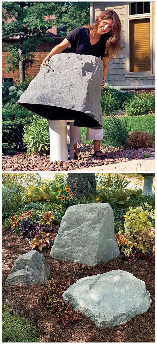 Faux Rocks Cover Unsightly PVC Pipes | Outdoor Eyesore Hiding Ideas