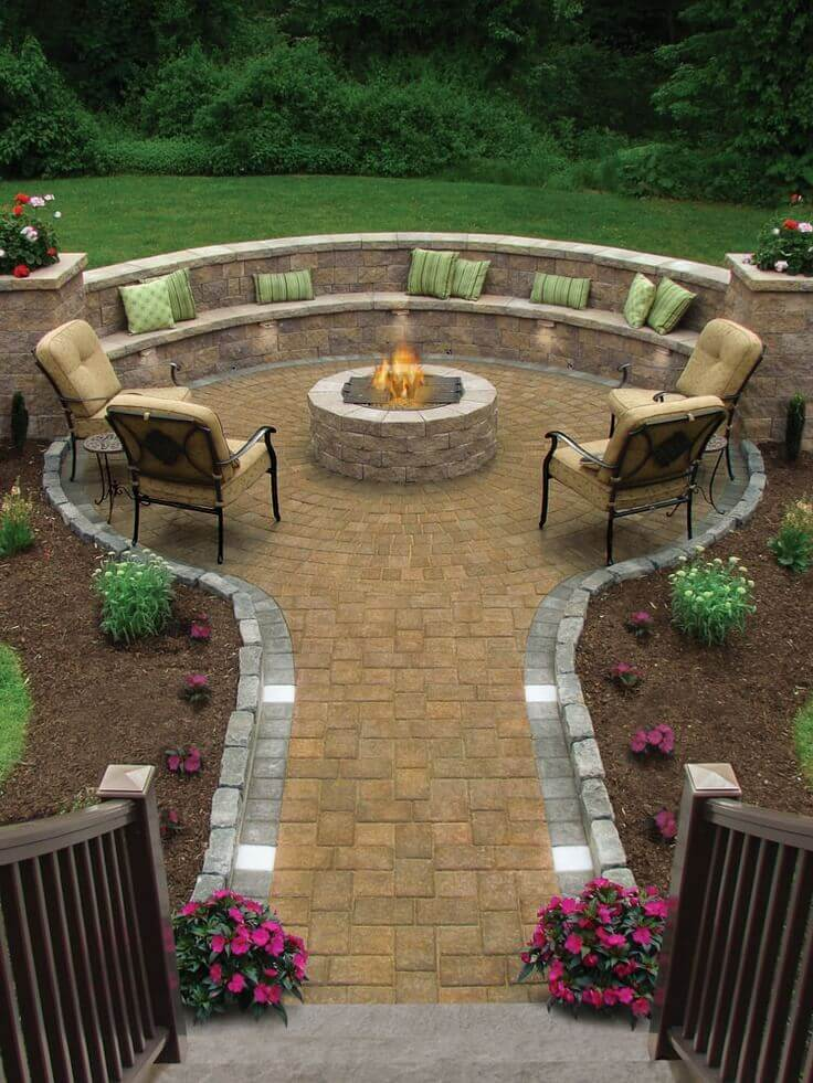Garden Path Leading to a Fire Hole   Awesome Firepit Area Ideas For Your Outdoor Activities