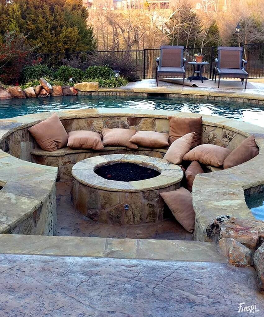 A Pit with Pillow in a Pool   Awesome Firepit Area Ideas For Your Outdoor Activities