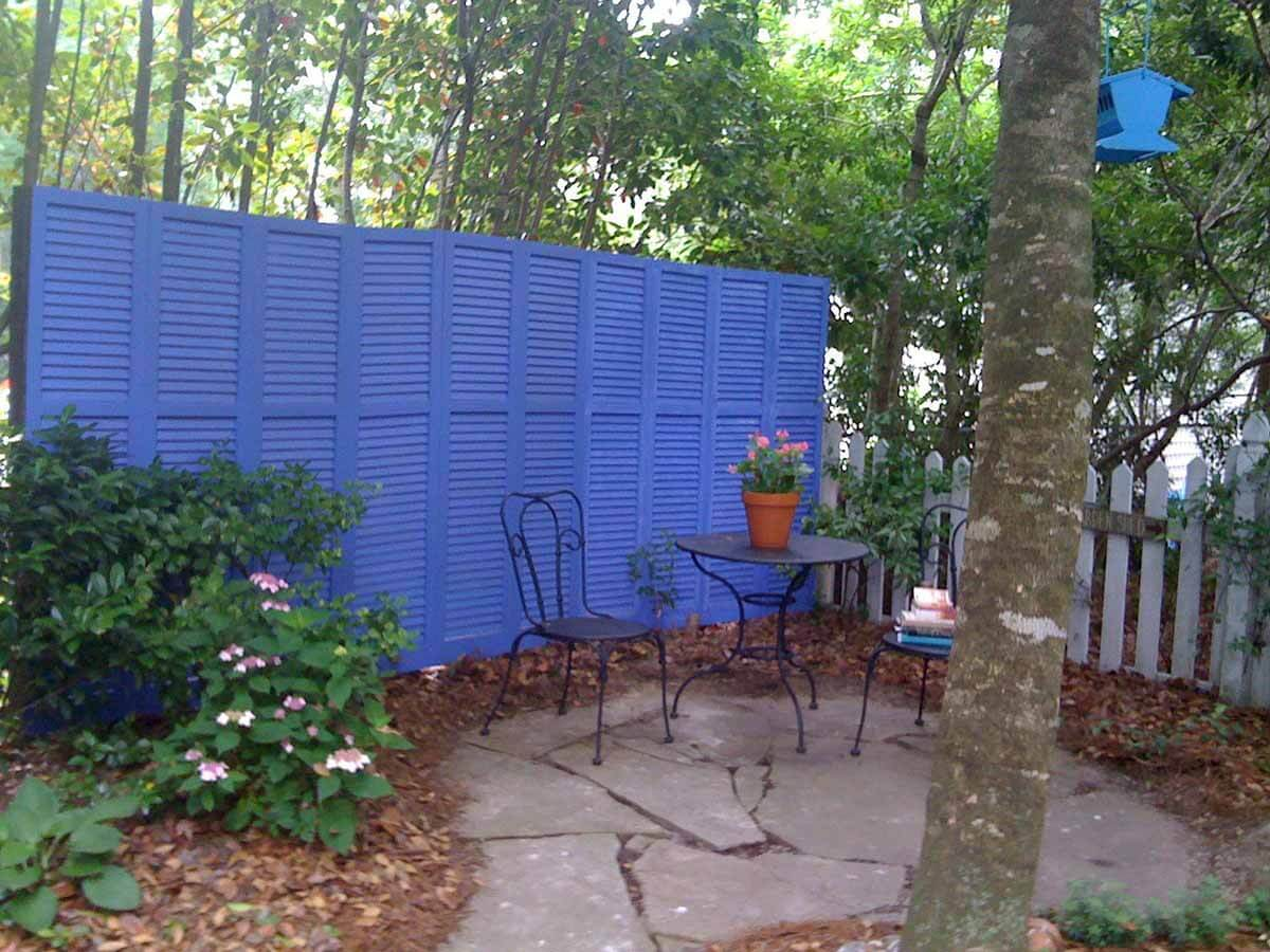 DIY Fence Ideas: Recycled House Shutter Screening Fence