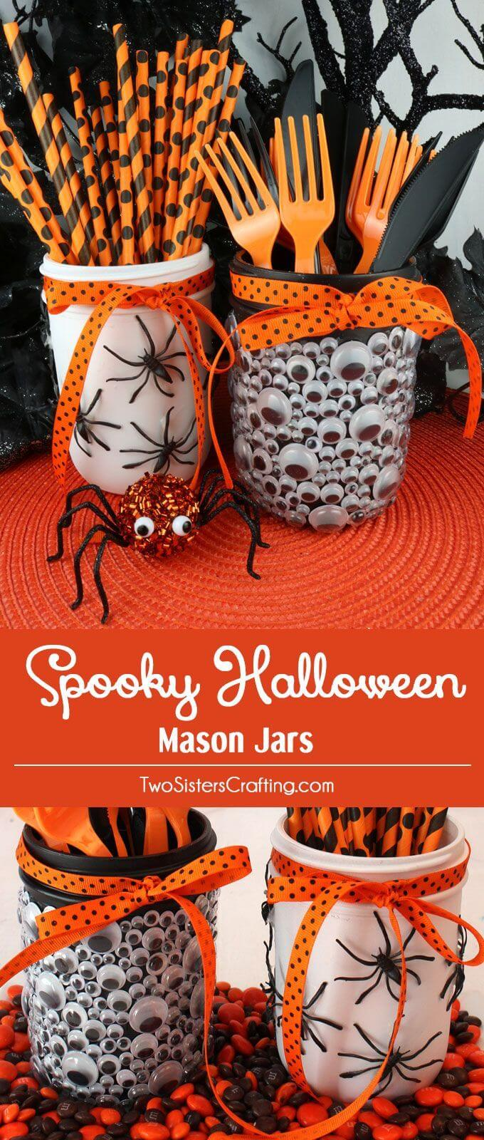 DIY Mason Jar Halloween Crafts: Creepy Mason Jar Halloween Crafts Party Decor