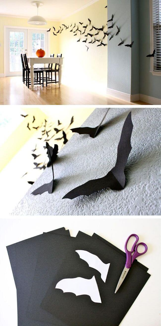 Bats Fly with Paper Cutouts | DIY Indoor Halloween Decorating Ideas