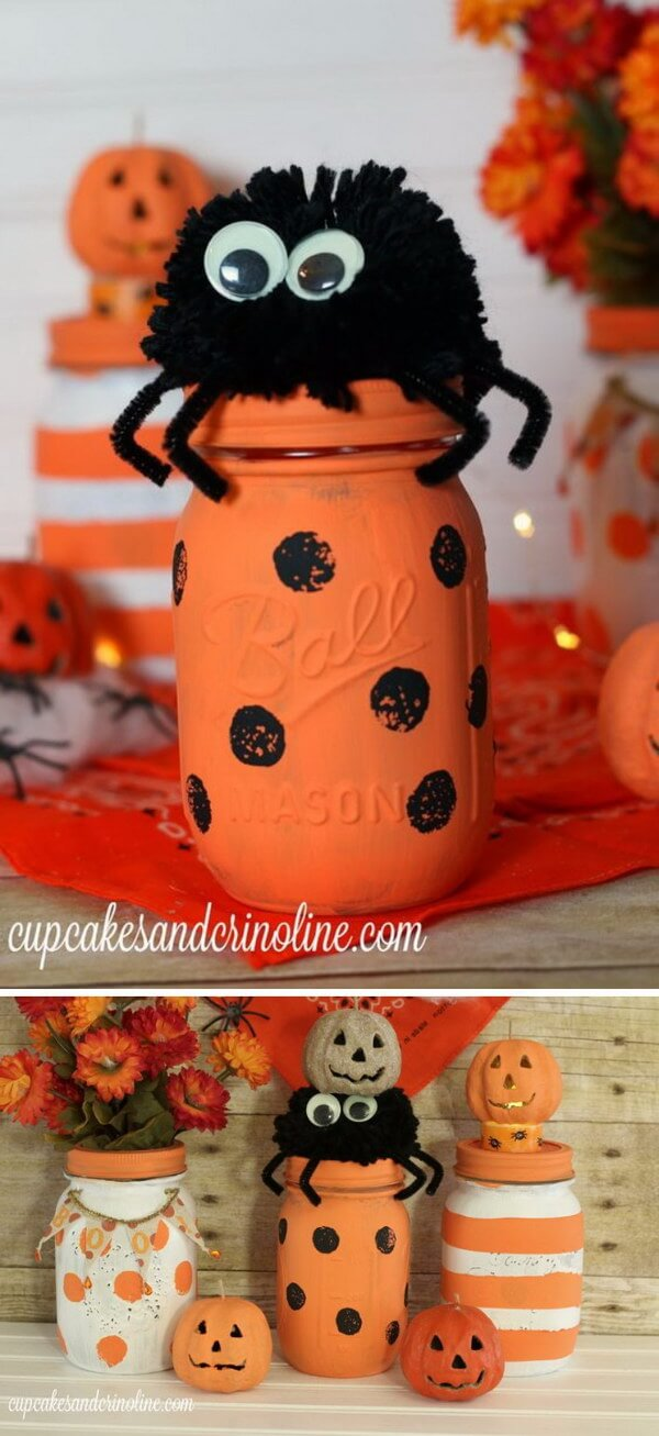 DIY Mason Jar Halloween Crafts: Cute Halloween Craft Dots and Stripes