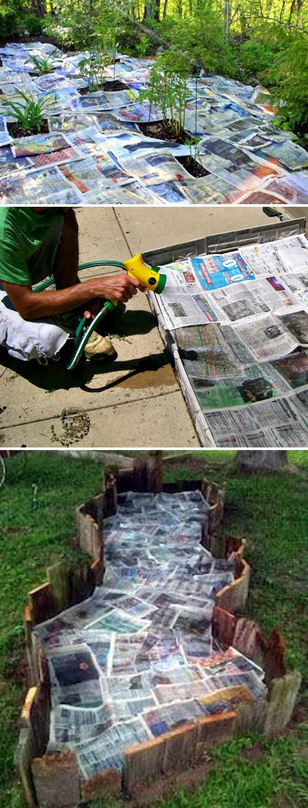 Use newspaper and water to stop weeds from growing in your garden bed | Clever Gardening Ideas on Low Budget