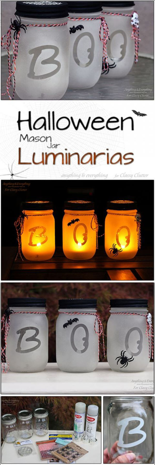 "DIY Mason Jar Halloween Crafts: Easy ""Boo"" Halloween Mason Jar Crafts"