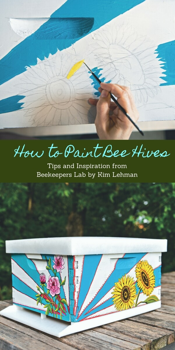 Bright Flowers and Rays on Bee Hive | DIY Painted Garden Decoration Ideas