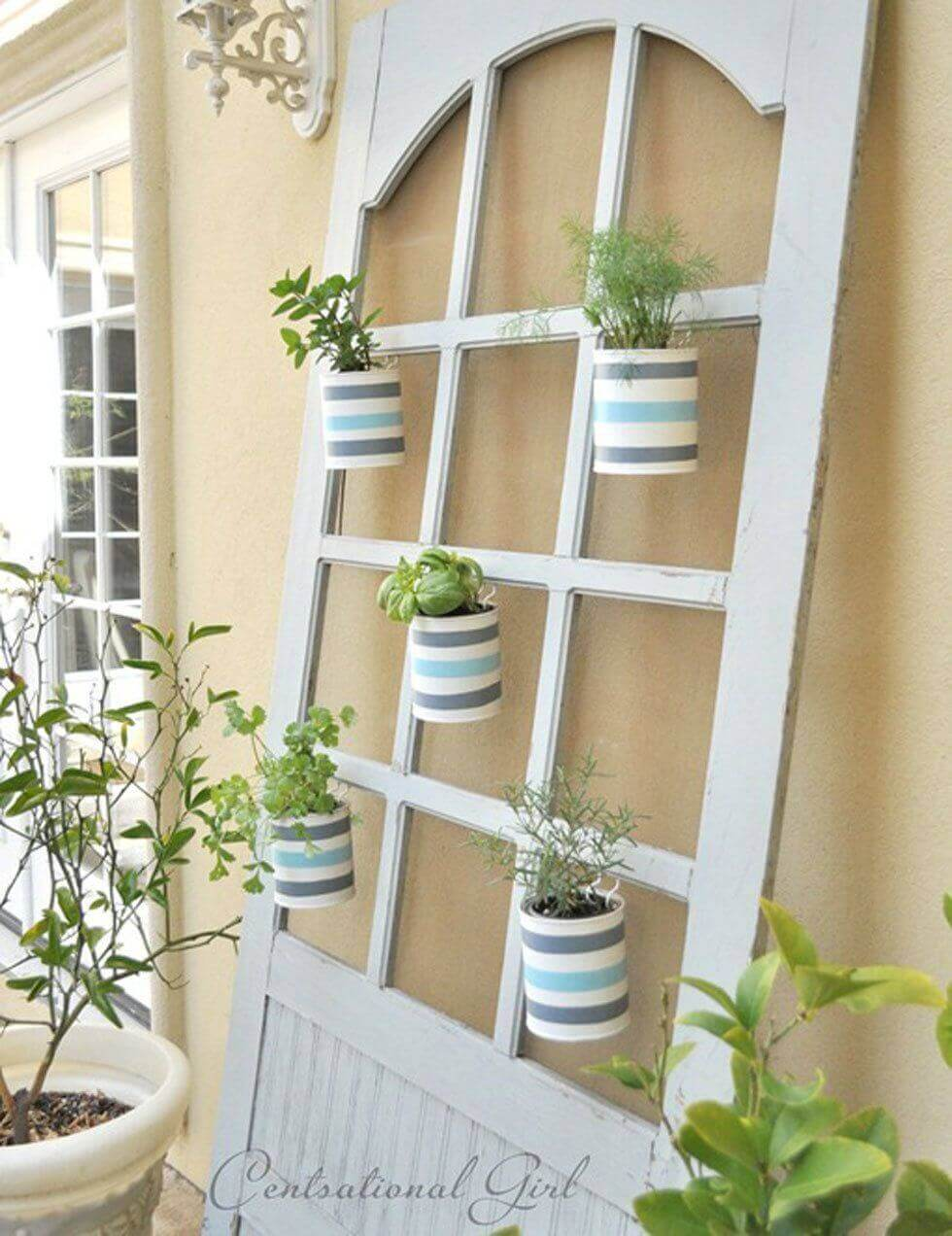 Hang Herb Pots in the Windows | Creative Repurposed Old Door Ideas & Projects For Your Backyard