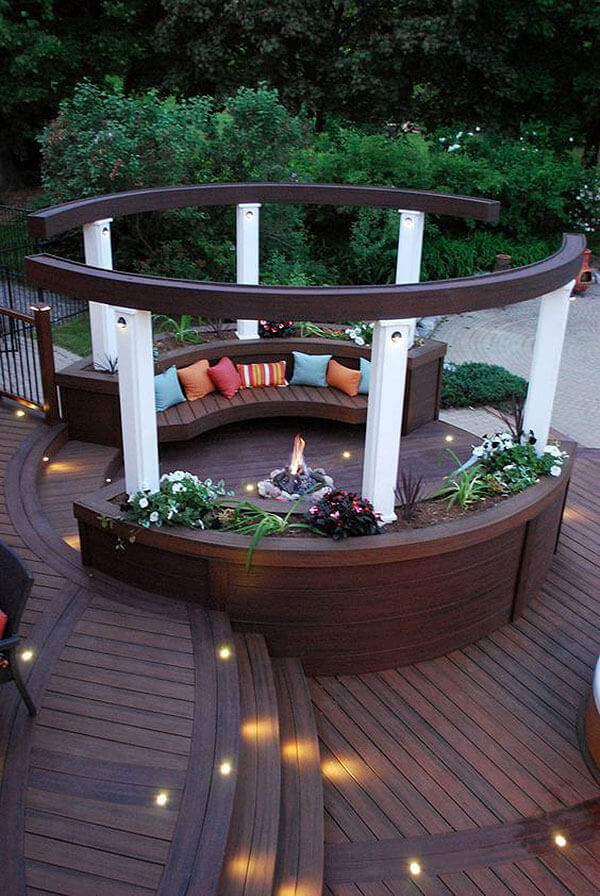 Wooden Bench Planters with an Enclosed Firepit   Awesome Firepit Area Ideas For Your Outdoor Activities