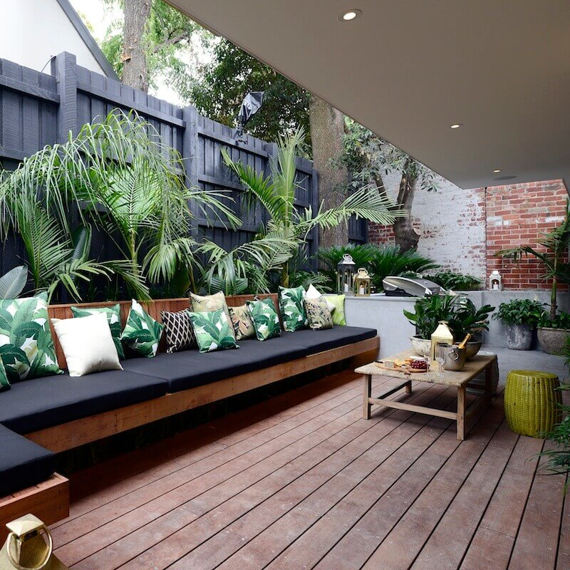 Built-In Planter Half-Wall with Bench