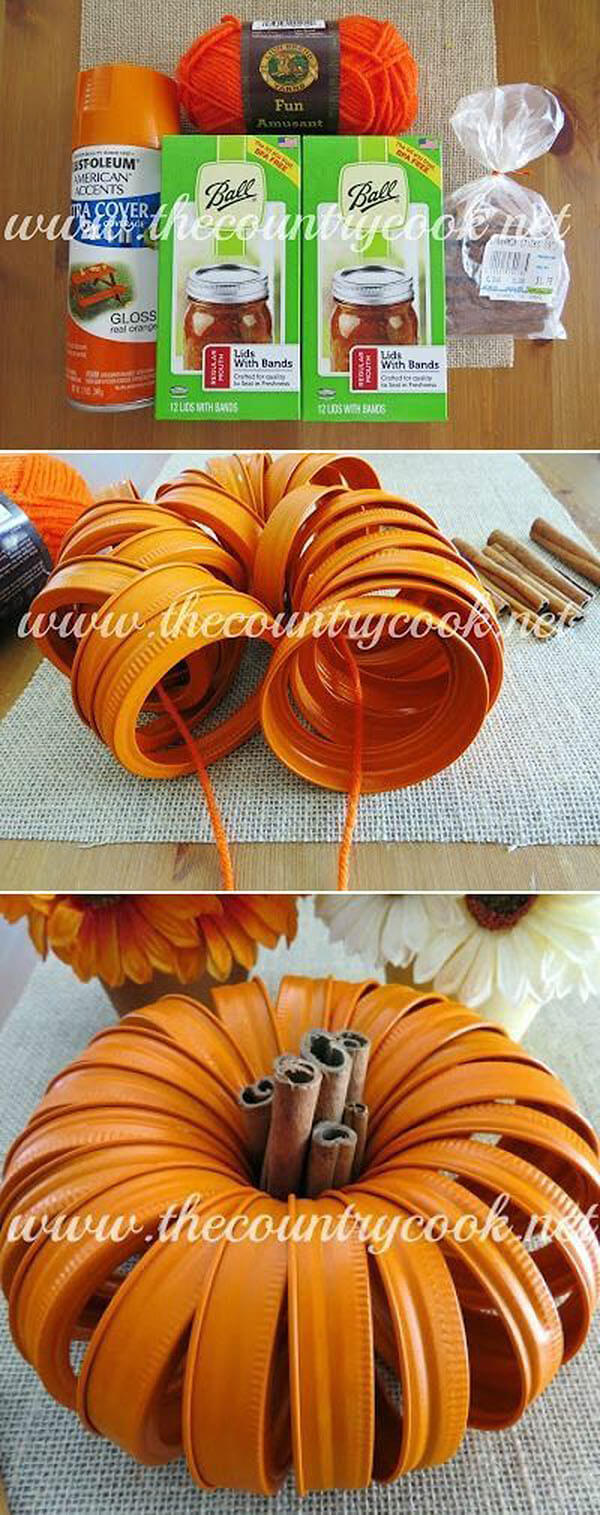 DIY Mason Jar Halloween Crafts: Cute Mason Jar Lid Pumpkin