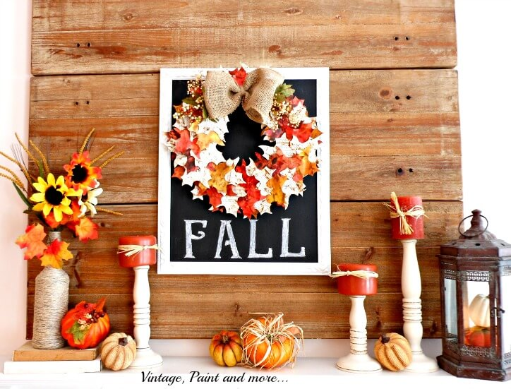 Vintage, Happy Fall Mantel Design | Fall Mantel Decorating Ideas For Halloween