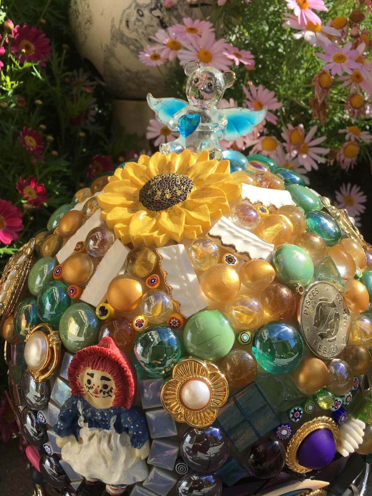 A Mix of Gems and Found Objects | DIY Garden Ball Ideas