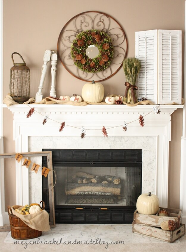 Natural and Cozy Palate Slips into Fall | Fall Mantel Decorating Ideas For Halloween