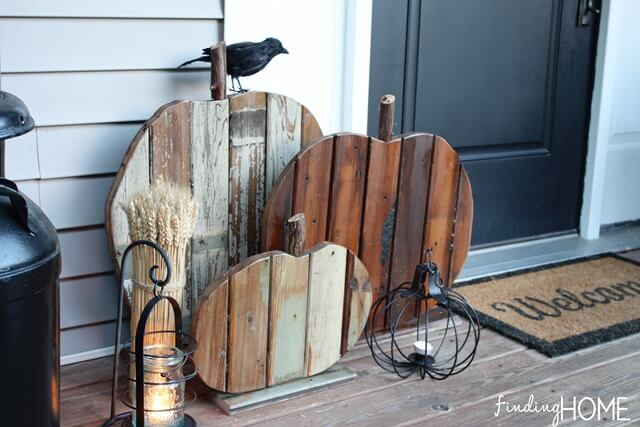 With Wood Decor, No Actual Pumpkins Needed | Fall Porch Decoration Ideas | Porch decor on a budget