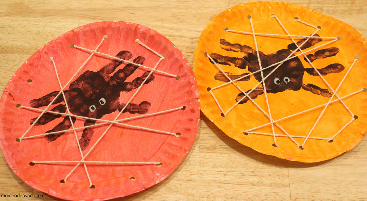 Spooky Hand Print Spiders with Webs | Fun & Creative DIY Halloween Crafts for Kids