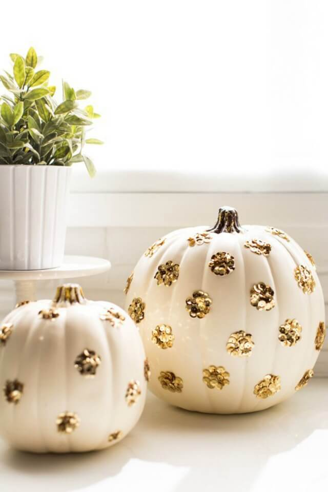Sequins Add Sparkle to Plastic Pumpkins | DIY Indoor Halloween Decorating Ideas