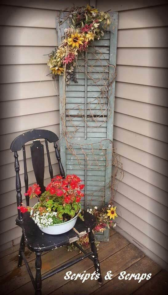 Old Chair, Old Shutter, Fresh Flowers   Vintage Porch Decor Ideas