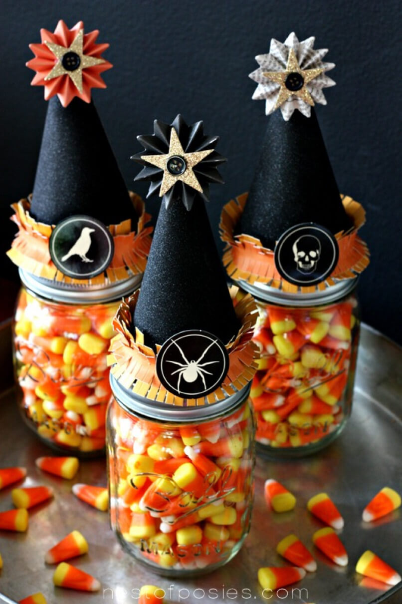 DIY Mason Jar Halloween Crafts: Fancy Witch Hat Mason Jar Halloween Craft