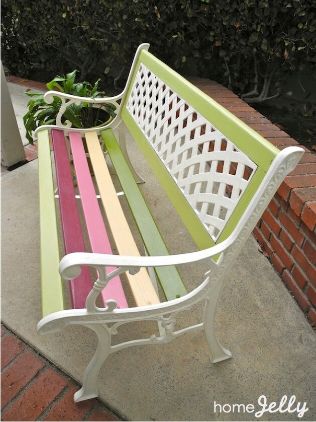 Summer Bench in Pastel Candy Stripes | DIY Painted Garden Decoration Ideas