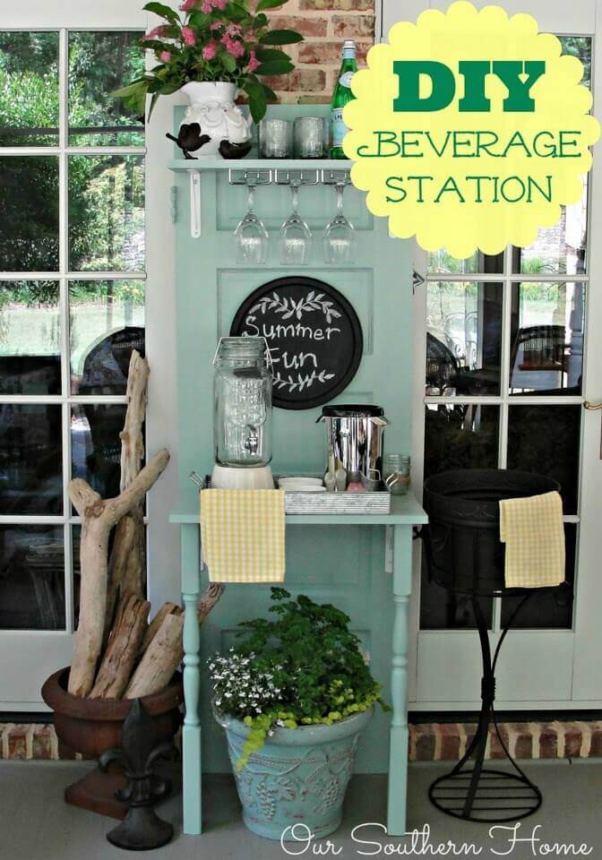 Charming Place to Serve Drinks | Creative Repurposed Old Door Ideas & Projects For Your Backyard