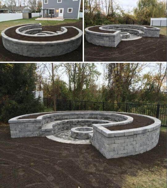 Crescent-Shaped Firepit Made from White Brick   Awesome Firepit Area Ideas For Your Outdoor Activities