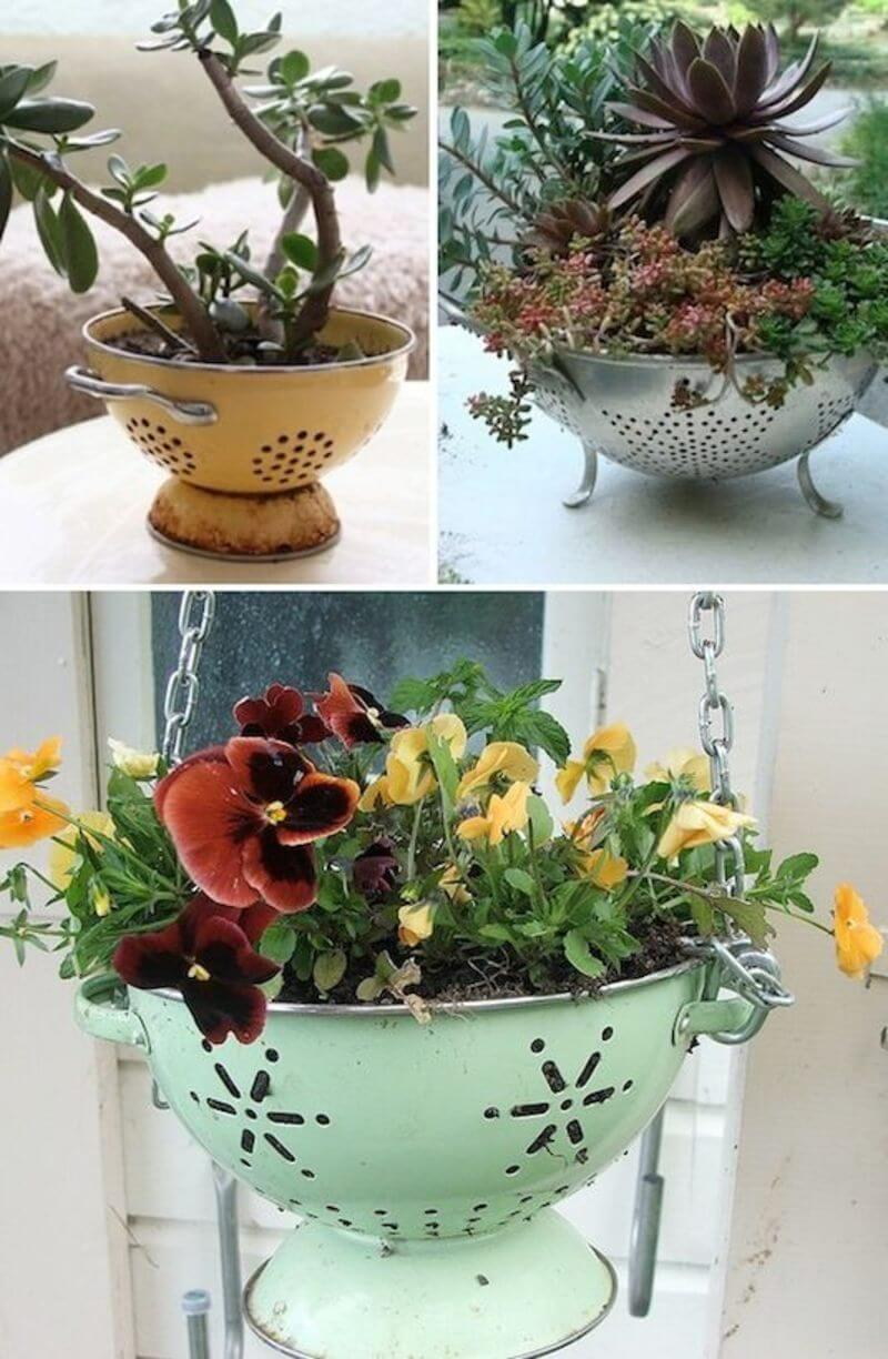 Vintage Garden Decor Ideas: Cute and Easy DIY Colander Planter