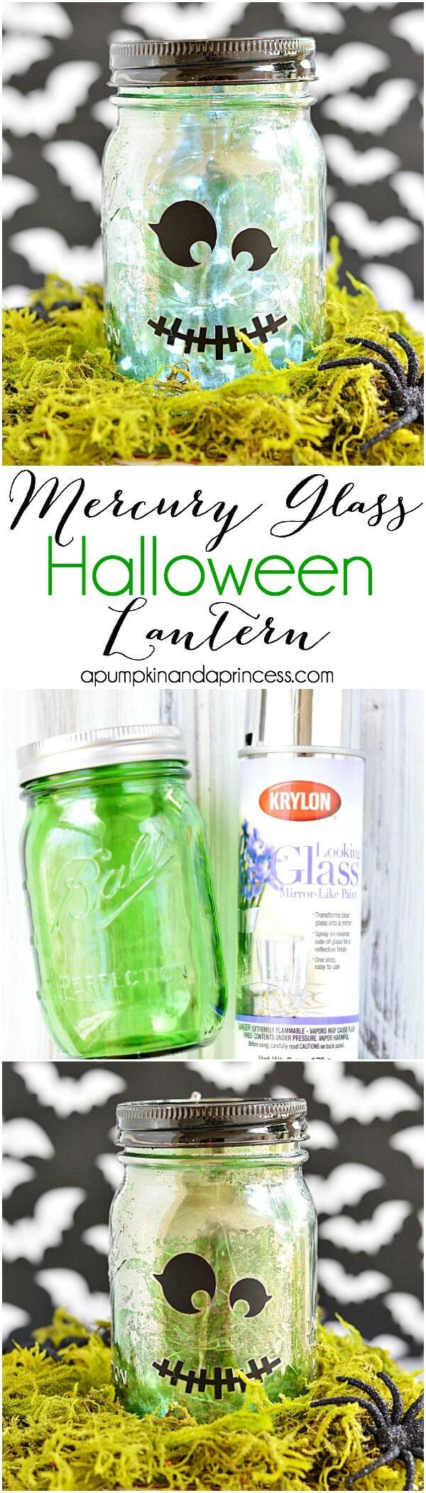 DIY Mason Jar Halloween Crafts: Mercury Glass Frankenstein Lantern