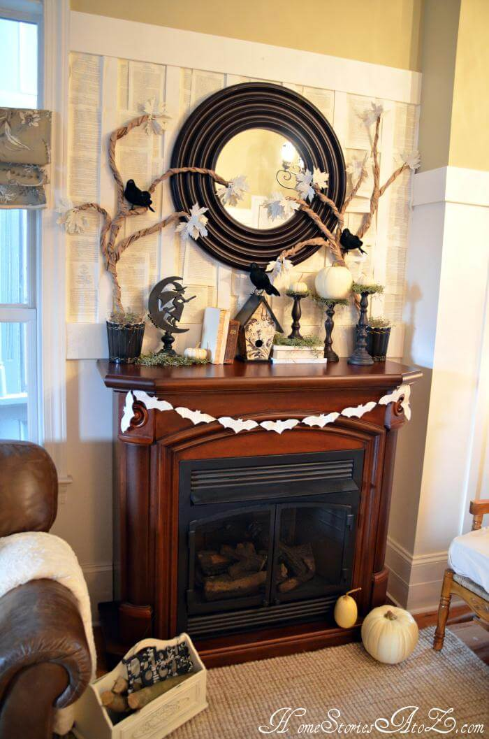 Combine your Fall and Halloween | Fall Mantel Decorating Ideas For Halloween