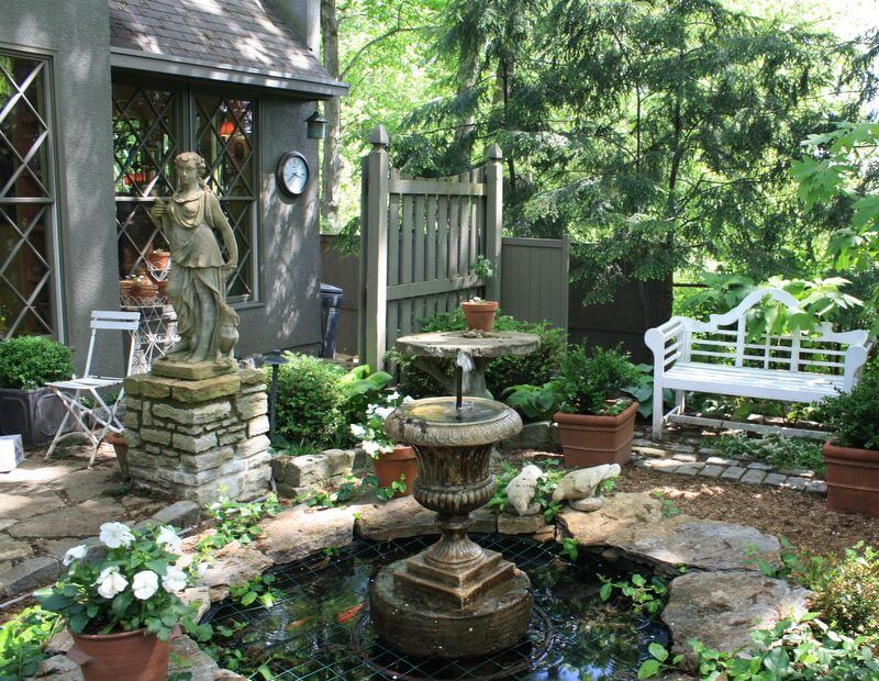 Serene Fountain Corner with a Bench