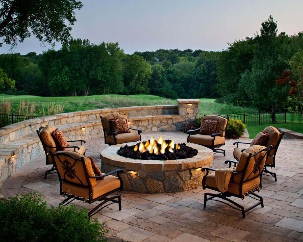 Sandstone Patio Firepit with Rolling Hills   Awesome Firepit Area Ideas For Your Outdoor Activities