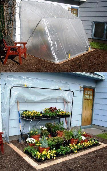 A Garden Space with a Fold-Away Top | Build a beautiful outdoor greenhouse | Creative Greenhouse DIY plans