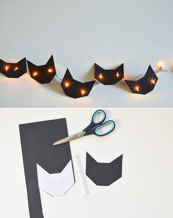 Brighten Strands of Lights with Cutouts | DIY Indoor Halloween Decorating Ideas