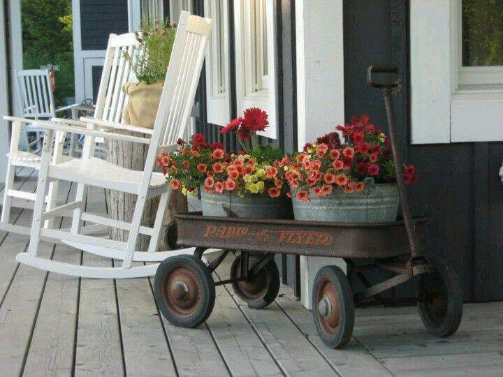 A Wagon Full of Flowers   Vintage Porch Decor Ideas