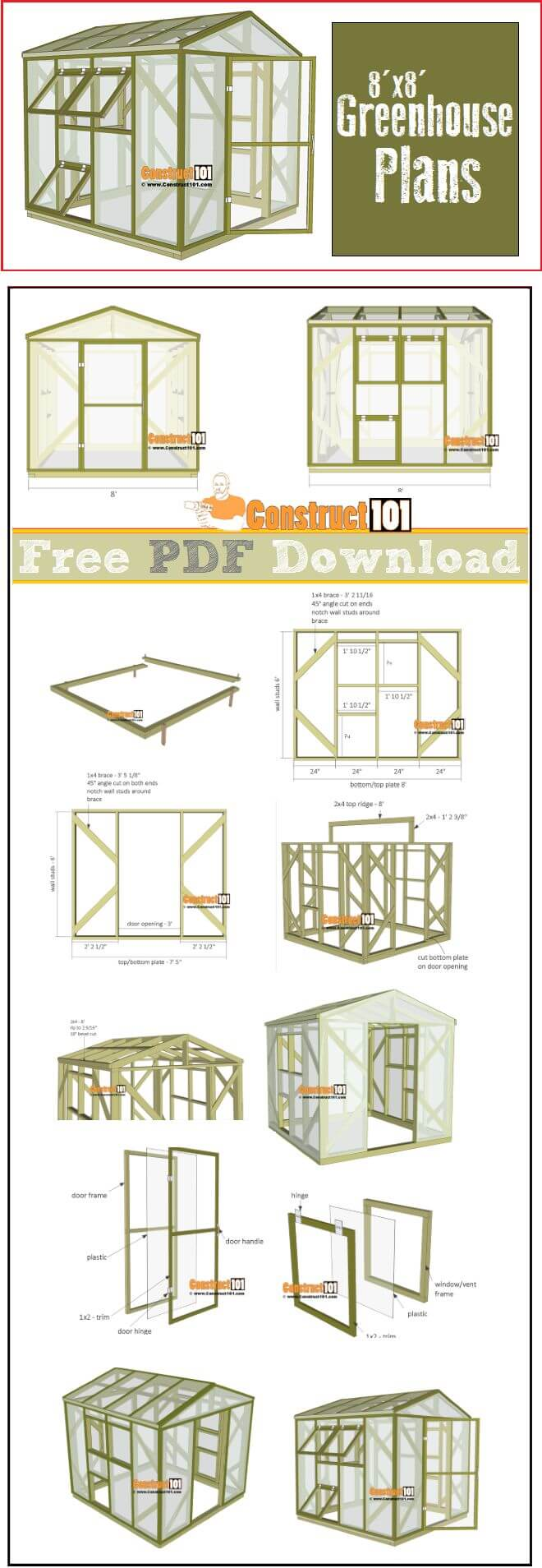 Step-By–Step Plans for a DIY Green House | Build a beautiful outdoor greenhouse | Creative Greenhouse DIY plans