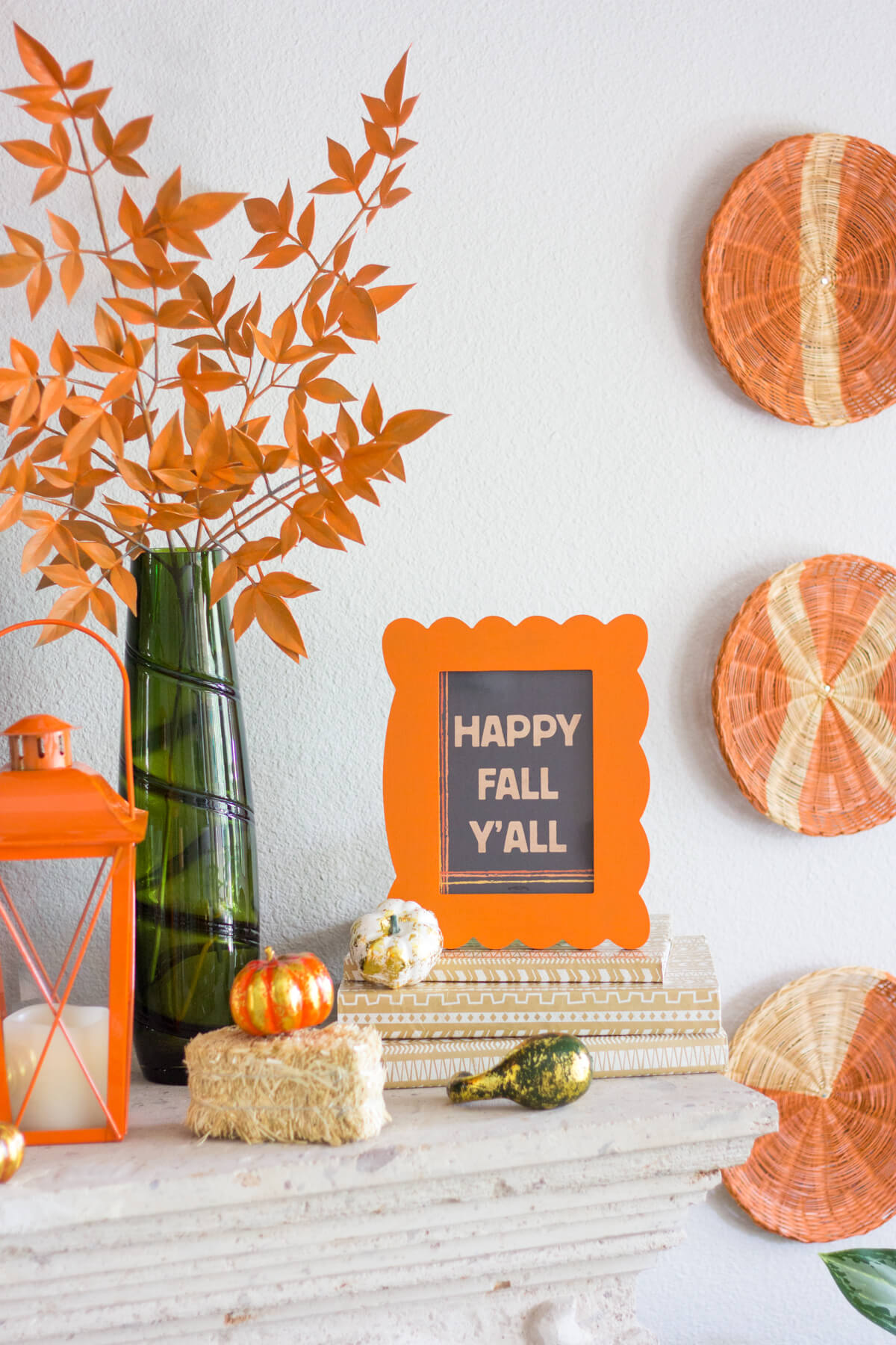 Accent on Orange for a Cheerful Mood | Fall Mantel Decorating Ideas For Halloween
