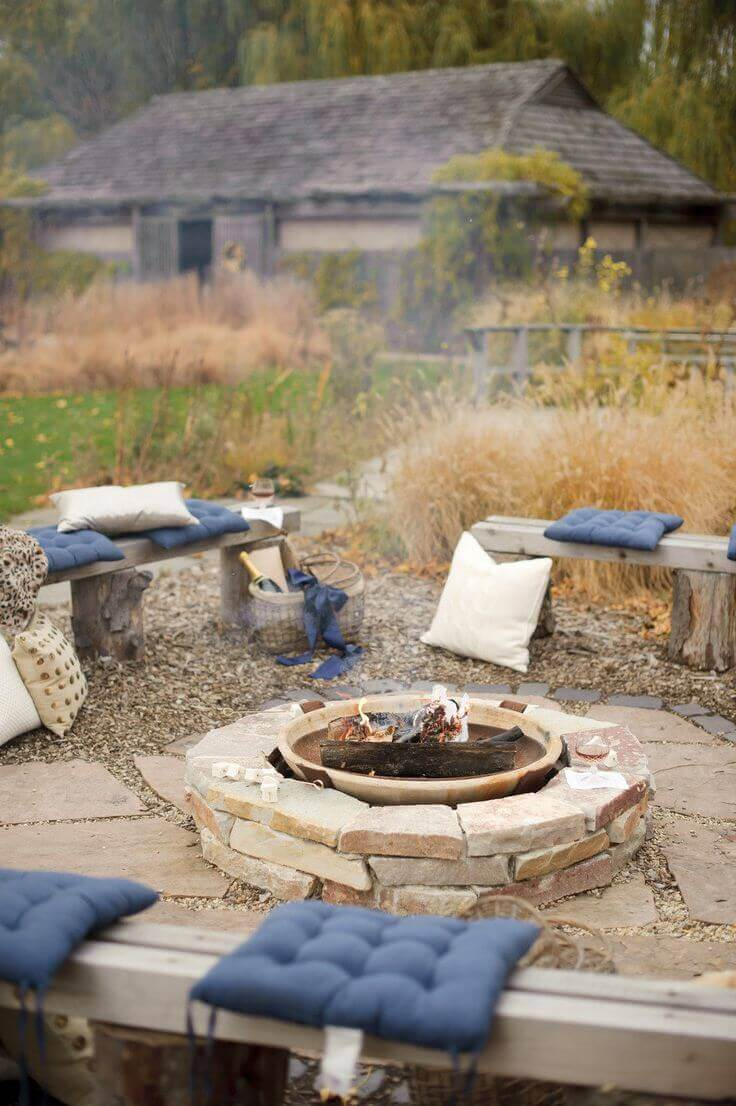 A Backyard Fire Hole With Comfortable Cushions   Awesome Firepit Area Ideas For Your Outdoor Activities