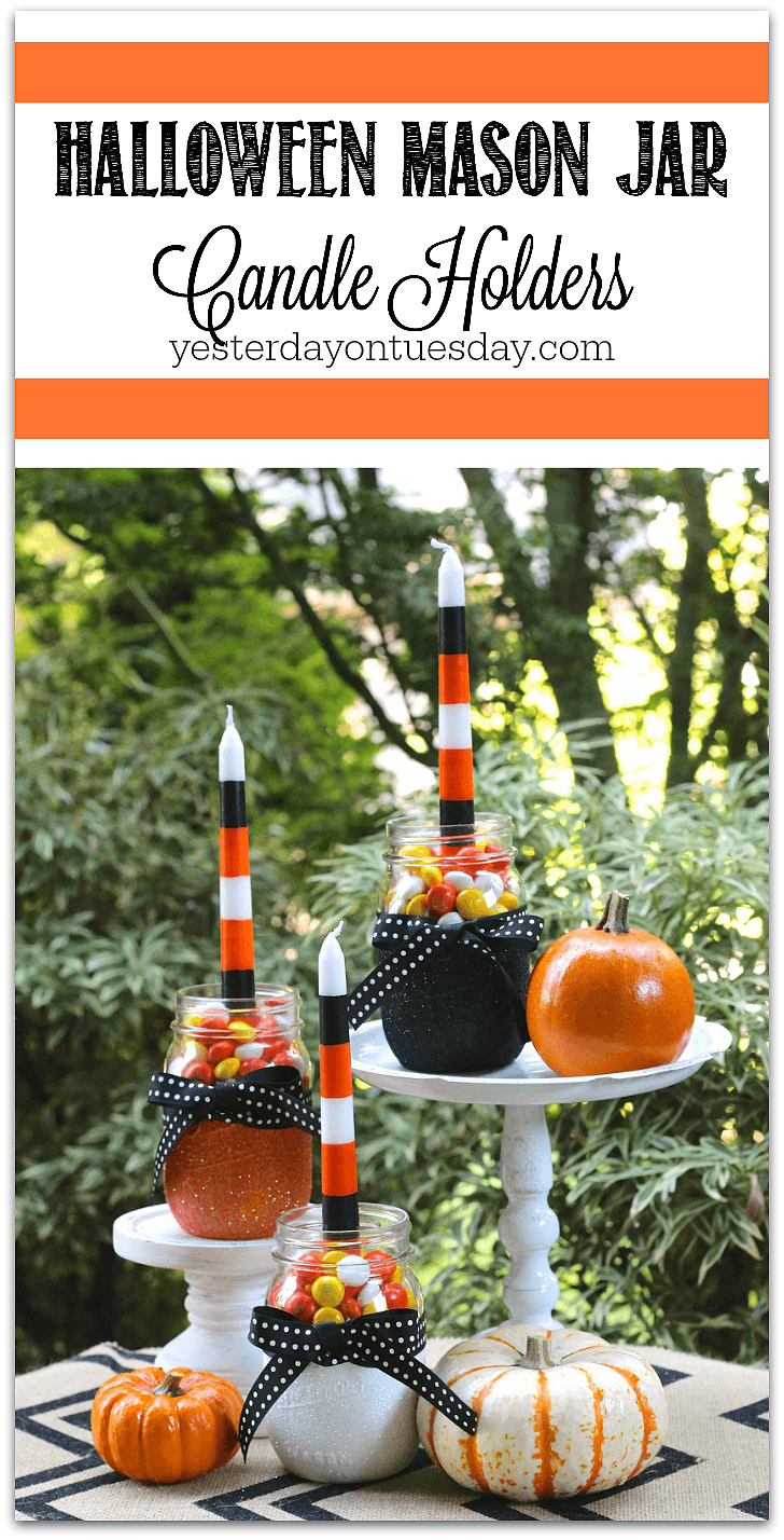 DIY Mason Jar Halloween Crafts: Sparkly Halloween Mason Jar Candle Holders
