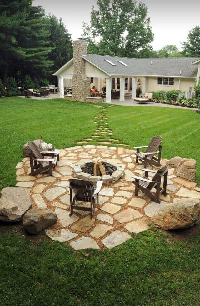 Stone Footpath Leading to a Gorgeous Pit   Awesome Firepit Area Ideas For Your Outdoor Activities