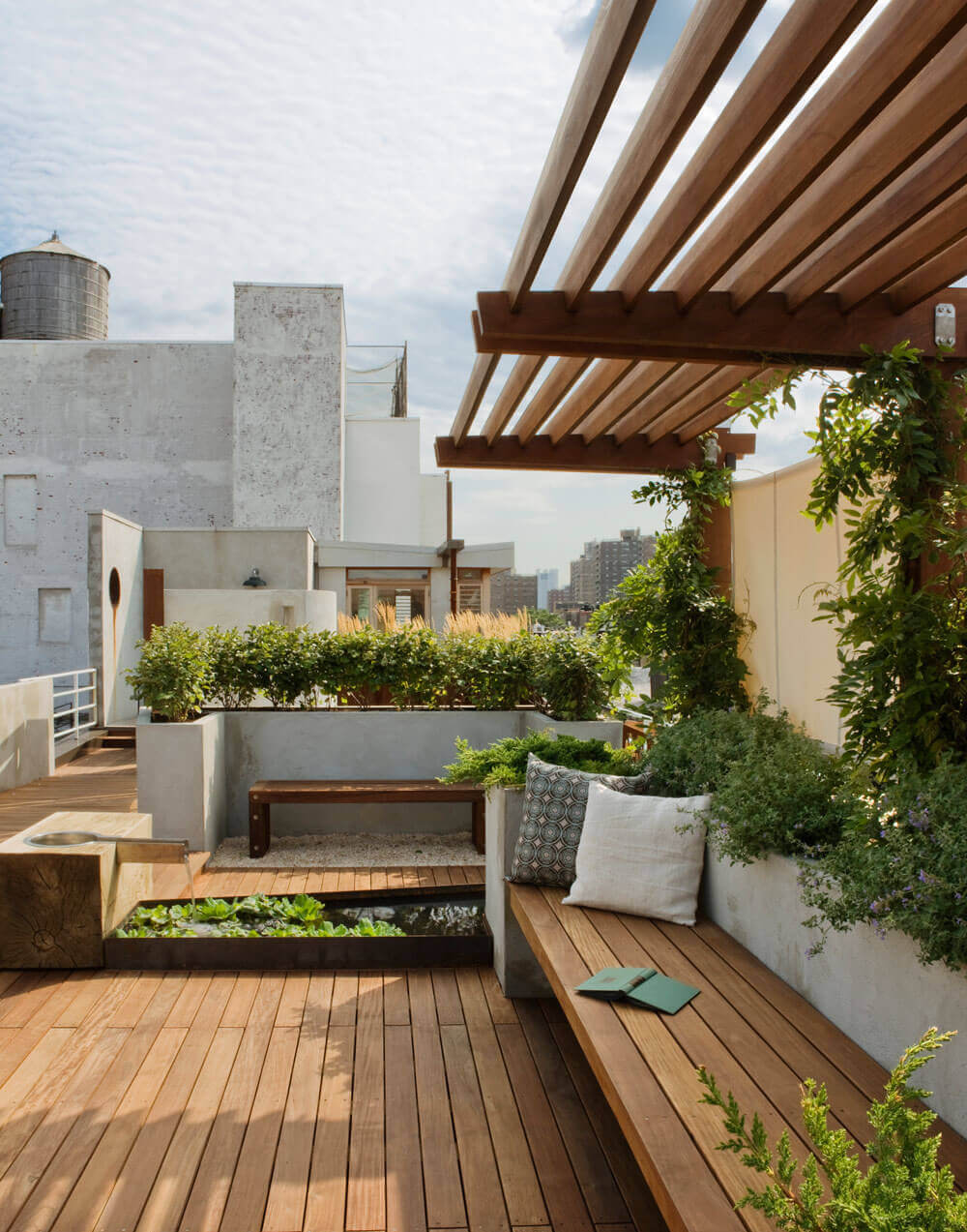 Patio with Built-In Planters and Benches