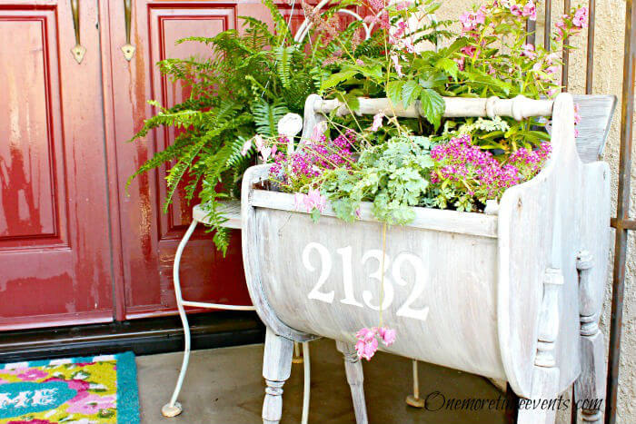 Portable, Weathered Sewing Cabinet Planter   Vintage Porch Decor Ideas