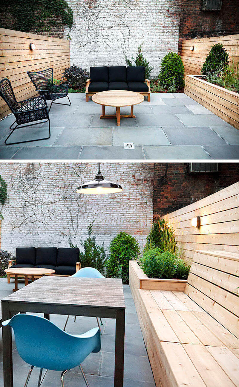 DIY Wood Planter with Built-In Benches