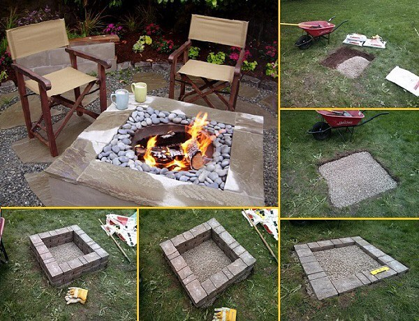 DIY Square Firepit   Awesome Firepit Area Ideas For Your Outdoor Activities