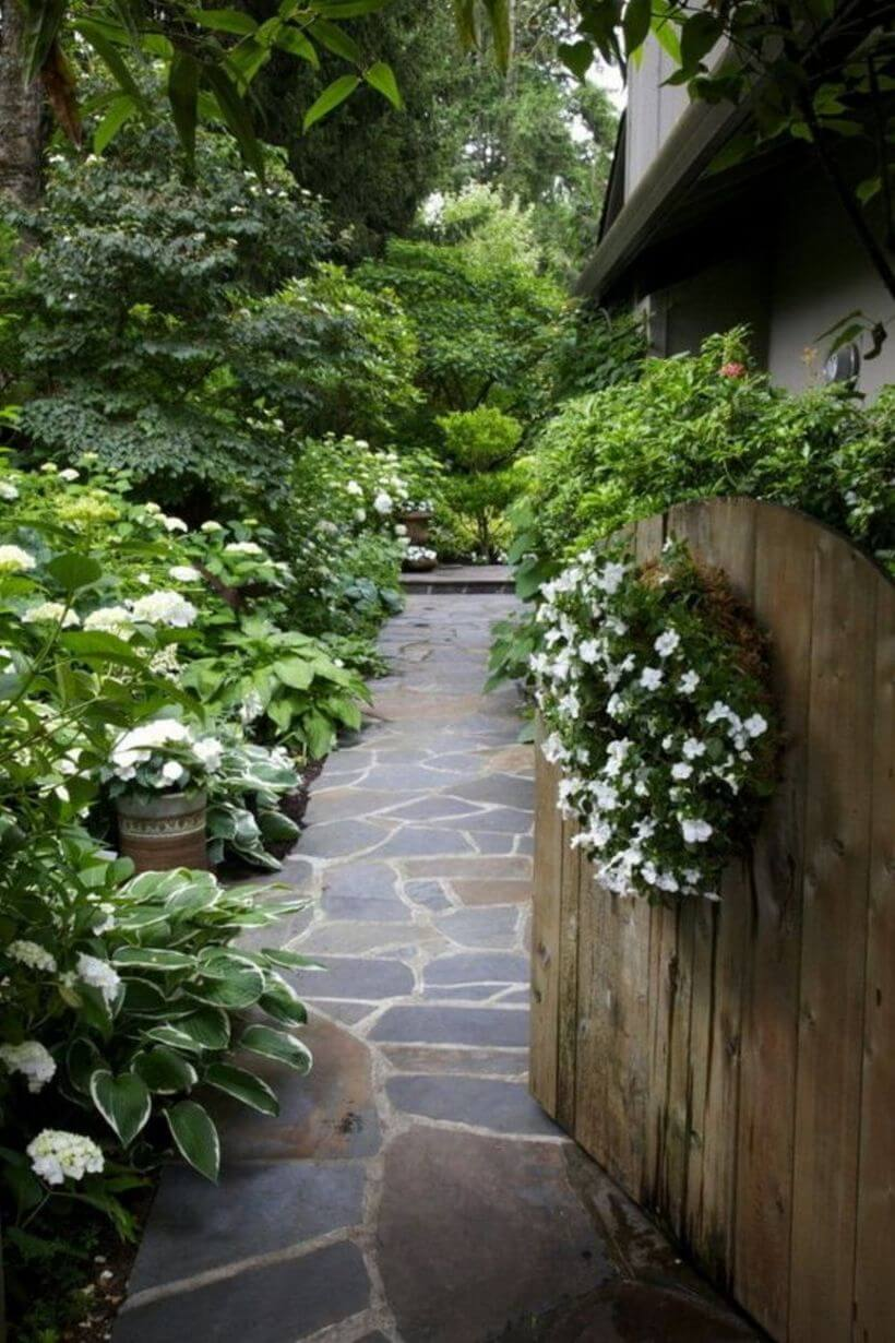 Stone Path with All White Flowers