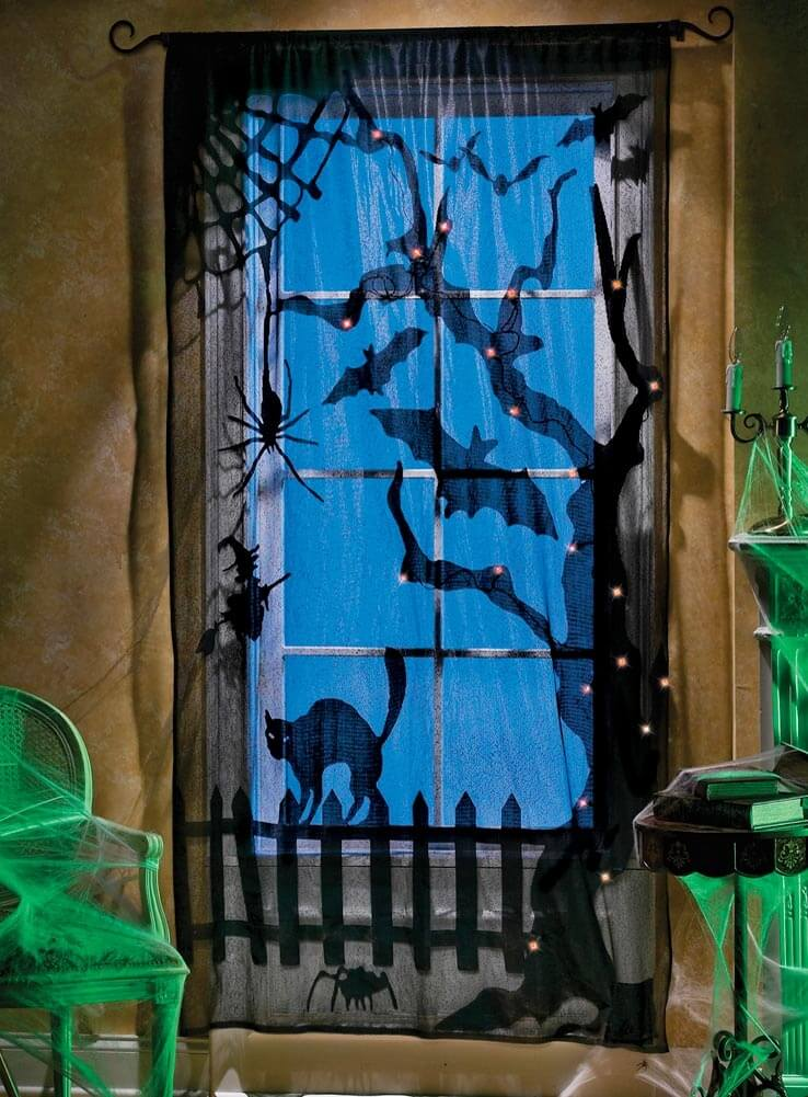Black Cat on the Curtains | DIY Indoor Halloween Decorating Ideas