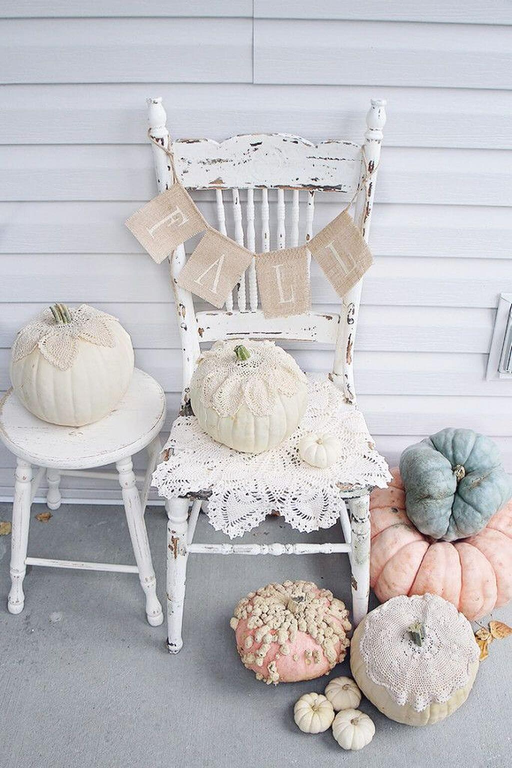Lovely Old Chair with Romantic Rose Pumpkins   Vintage Porch Decor Ideas